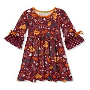Brown Leaf Ruffle-Sleeve A-Line Dress